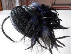 Black fascinator with feathers