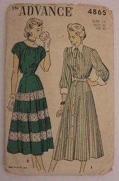 Vtg 1940s 50s Advance Flared Dress Pattern Bust 30 as Is Bargain | eBay