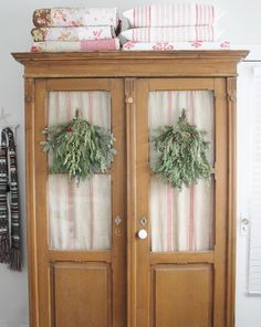 Decorate mostly w/ fresh greens here and there - less stress! Don't have to use it all. via The Leaning Cottage