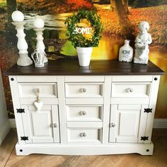 Mexican pine sideboard painted in Autentico bath stone and lightly distressed