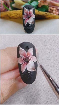 Rose Nail Art, Floral Nail Art, Pink Nail Art, Gel Nail Art, Nail Art Diy, Gel Nails, Acrylic Nails, Manicure, Nail Art Designs Videos