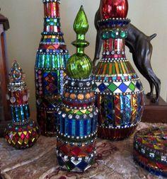 Mosiac Bottle Art - one of a kind.   https://www.etsy.com/listing/217302398/small-mosaic-bottle-art-genie-bottle?