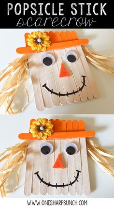 Create this simple fall DIY Popsicle stick scarecrow for a super cute fall craft for kids! via @onesharpbunch