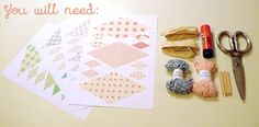 free printables for paper bunting in four colors/patterns + directions -- nice to have a template for sizing