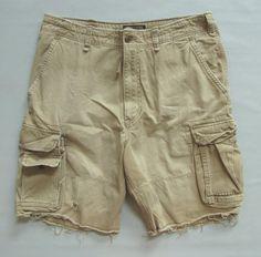 """Abercrombie & Fitch Cargo Shorts 36 10.5"""" Tan Dark khaki Distressed Cotton…"""