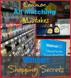 Walmart Shopping Secrets: Common Ad Matching Mistakes http://www.groceryshopforfreeatthemart.com/walmart-shopping-mistakes-common-ad-matching-mistakes/