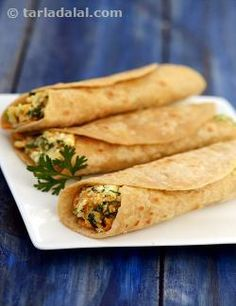 Paneer Veggie Wrap Paneer Veggie Wrap, easy-to-make and pleasing to the palate. Use leftover chapattis to make innovative wraps with a crunchy vegetable filling. Wrap Recipes, Veg Recipes, Easy Healthy Recipes, Indian Food Recipes, Healthy Snacks, Easy Meals, Cooking Recipes, Snacks Recipes, Indian Snacks