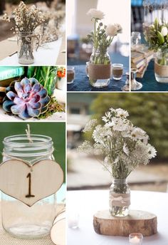 I like the twine wrapped around the jars.  We could then add ribbon tied on top of the twine to dress it up.
