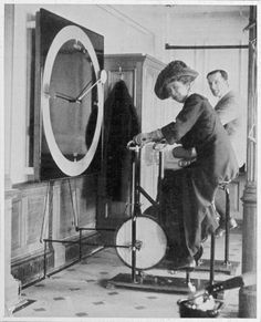 Passenger staying fit in the gym inside Titanic.