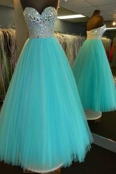 "Fabric:Tulle Neckline:Sweetheart Color:Mint+Green Silhouettes:+Ball+Gown+ Back+Detail:Zipper+Back Embellishments:Crystals Occasion:+Prom+,Evening,Cocktail++++++ Custom+Made+:+We+also+accept+custom+made+size+and+color+.+Please+click+the+""contact+us+""and+send+your+size+and+color+to+our+email..."