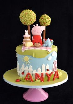 ..Peppa the Pig - Omigoodness.  Don't really know much about Peppa (my kids are too old), but this is a gorgeous cake!!