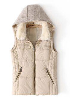 Beige Plain Fur Collar Hooded Cotton Blend Vest