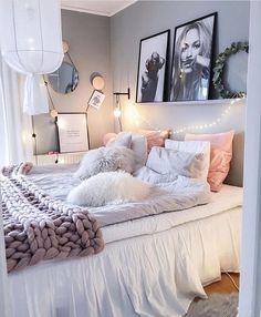 Cozy Girly Bedroom In 2019 Home Bedroom Room Inspiration Dream Rooms, Dream Bedroom, Pretty Bedroom, Woman Bedroom, Cozy Bedroom, Bedroom Decor, Bedroom Themes, Feminine Bedroom, Bedroom Furniture