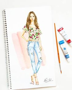 Saturday afternoon with floral ruffled top and ice blue denims! Dress Design Drawing, Dress Design Sketches, Fashion Design Sketchbook, Fashion Design Drawings, Fashion Sketches, Dress Illustration, Fashion Illustration Dresses, Set Fashion, Fashion Art