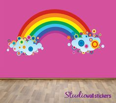 Reusable Rainbow Wall Decal - Childrens Fabric  Wall Decal - extra large on Etsy, $80.00
