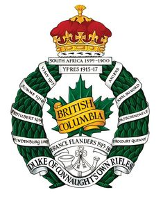 Insigne de The British Columbia Regiment (Duke of Connaught's own) Canadian Army, Canadian History, Military Units, Military Insignia, Coat Of Arms, British Columbia, Duke, Badges, Ancestry