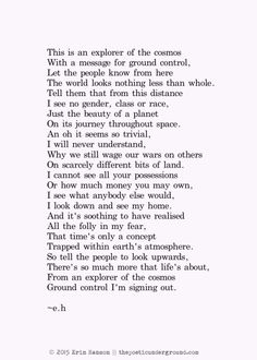 Ground Control. thepoeticunderground.com #poem #poetry