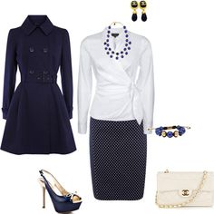 Navy and White skirt and blouse with coat, created by tsteele
