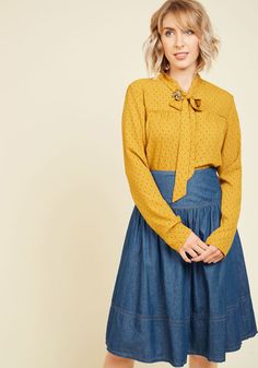 Bakery Browsing Skirt - Blue, Solid, Casual, 90s, A-line, Fall, Long