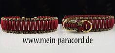 """Paracord / Biothane Halsband in """"Burgund"""" und """"Gold Diamonds"""". Mehr auf www.mein-paracord.de"""