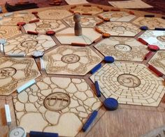 This is a laser cut Settlers of Catan board.