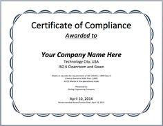 Certificate Of Conformity Sample Template  Certificate Of