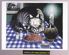 B. KLIBAN CATS ART POSTCARD Kitty spaghetti sleeping | eBay