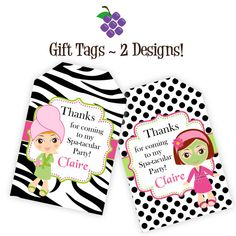 Spa Party Gift Tags - Hot Pink, Lime, Zebra Print, Black White Polka Dots, Spa Personalized Birthday Party Gift Tag - Digital Printable File on Etsy, $12.00