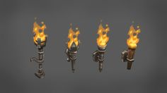 Fire torches and candles   Very useful pack, seven fire torches and eight candles. The fire and smoke were painted. Perfect to be used in medieval and RPG games. The animation was made with the unity 2d sprites tools. There is no lookat script yet, but I will add in the next updates. All prefabs are ready.  Polycount for each one: around 134-250 (simple models) around 300-500 (detailed models)  Check out the complete pack of props Lowpoly Fantasy Props check it out!  Included models: - Fire…