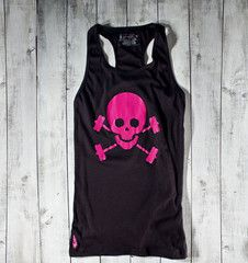 Skull & Barbells Active Tank - Black/Pink by Gymdoll