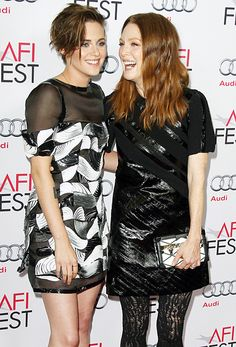 Kristen Stewart and costar Julianne Moore shared a laugh at the 2014 AFI Fest premiere of their film Still Alice.