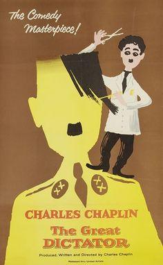 [Charlie CHAPLIN (1889-1977)].  2 affiches pour des reprises du film Le Dictateur (1938) ; entoilées.  The Great Dictator. Affiche américaine, 1958 ; dessin anonyme mais sans doute inspiré de Léo Kouper ; 105 x 68 cm.