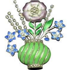 ART DECO Solid Sterling Silver French Enamel Marcasite Flower Vase Brooch
