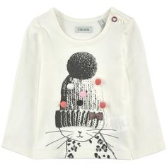 Viscose and cotton jersey Crew neck Long sleeves Buttons on the shoulder Front print Fancy bobbles Fashion Kids, Ikks Kids, Ikks Junior, Baby Kids Wear, Best Quality T Shirts, Teen Trends, Jupe Short, Shirt Print Design, Cat Sweatshirt