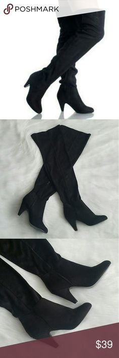 """Leann-11 Faux Suede Thigh High Boots This style is perfect for any occasion. Brand new, without box. Never worn. 3.25 inch heel. Shaft measures approximately 20"""" from arch. Marked as a size 7, but fit more like a 6.5; runs small. No trades or PayPal. Breckelle'S Shoes Over the Knee Boots"""