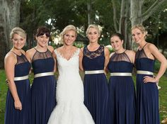 Stunning Gelique Annabelle dresses in navy. The maid-of-honour in a Gelique Daisy dress - a stunning combination of lace and tulle textures. You can add a satin ribbon extra to any of our dress styles. Annabelle Dress, Daisy Dress, Fabric Combinations, Bridesmaid Dresses, Wedding Dresses, Dress Styles, Maid Of Honor, Body Types, Compliments