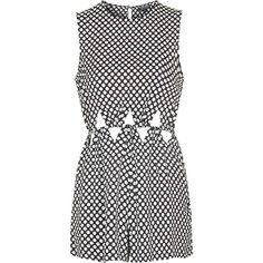 TopShop Polka Dot Cut-Out Playsuit ($60) ❤ liked on Polyvore featuring jumpsuits, rompers, black, black romper, playsuit romper, polka dot romper, cut out romper e black rompers