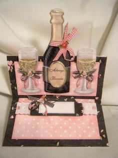 "Handmade Greeting Card -3D Champagne ""Always & Forever"" Easel Card"