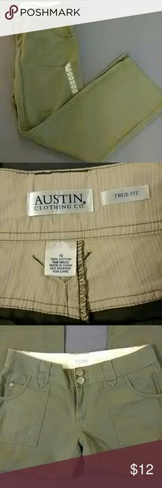 Austin Clothing Company Olive Green Pants NWOT Austin Clothing Company Olive Green Straight leg Pants.  The 100% Cotton material is similar to most khaki material pants. There is cute accent stitching on the pockets and belt loops. The tags aren't attached, but the size sticker is still on the front.  These have only been tried on. Get these at a bargain and save even more by bundling with other pieces from my closet. Austin Clothing Co. Pants