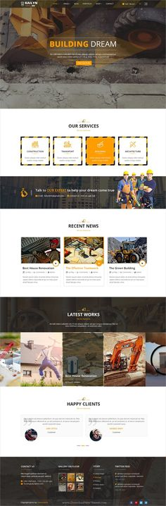 Kailyn is clean and modern design multipurpose #PSD #template for #construction company website with 49 layered PSD pages download now..
