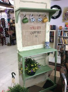 Coffee station made from old door and re-purposed wood and Baluster. Project by… Coffee station made from old door and re-purposed wood and Baluster. Project by Heaven Creations Coffee Bar Station, Home Coffee Stations, Coffee Bar Home, Coffee Shop, Coffee Lovers, Coffee Corner, Coffee Bars, Diy Bar, Old Door Projects