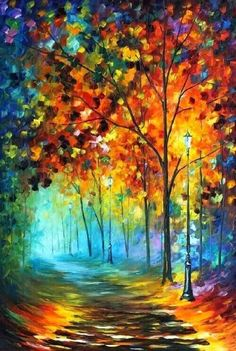 Fog Alley is a great piece of expressive colorful art that will decorate any room. This forest painting by Leonid Afremov will draw everyone's attention and make your days brighter. Title: Fog Alley S Forest Painting, Oil Painting On Canvas, Artist Painting, Canvas Art, Knife Painting, Canvas Paintings, Oil Painting Trees, Painting Frames, Rain Painting