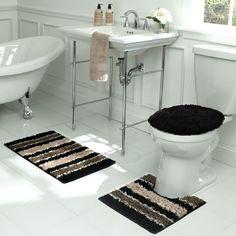 Deliso Stripe Shag 3 Piece Bath Set