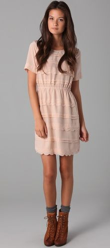 madewell silk scallop wave dress.