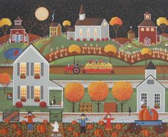 """""""Seasons of Autism - Fall"""" folk art painting by Mary Charles"""