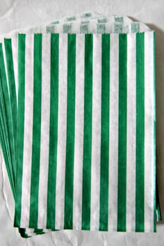 24 Emerald Green & White Candy Stripe Party Favor Treat Bags - Wedding, Birthday, Party, Holiday, St. Patrick's Day - Lemon Drop Shop