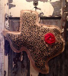 Burlap Cheetah State Hanger with Rosette  on Etsy, $35.00