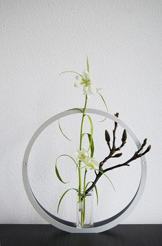 Modern ikebana with Magnolia and white Fritillary by Otomodachi, via Flickr