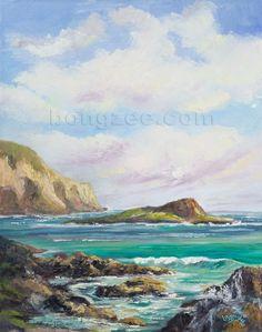 MAKAPUU BEACH Original Oil Painting Art Artwork Tropical Ocean Hawaii Sand East Oahu Hawaiian Surf Waves Island. $325.00, via Etsy.
