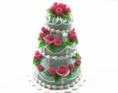 Maison de poupée Miniature Food 3 couche spécial couleur bleu Rose mariage gâteau déco approvisionnement charmes Set - 7213
